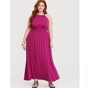 NWT Torrid Raspberry High Neck Maxi Dress